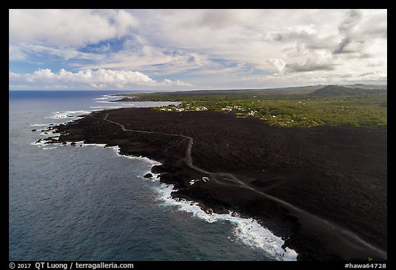 Aerial view of lava field and coastline near Cape Kumukahi. Big Island, Hawaii, USA (color)