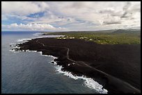 Aerial view of lava field and coastline near Cape Kumukahi. Big Island, Hawaii, USA ( color)