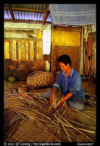 Woman weaving a toga (mat) out of pandamus leaves. American Samoa (color)