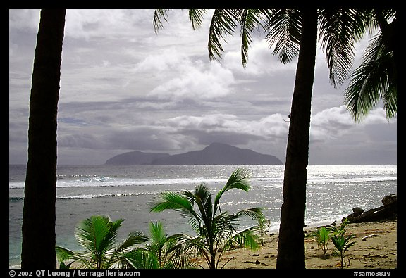 Olosega island seen from Tau. American Samoa (color)