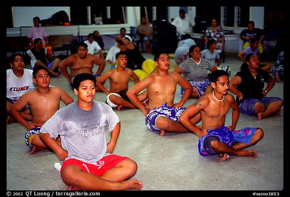 Villagers getting ready for traditional dance, Aua. Tutuila, American Samoa (color)