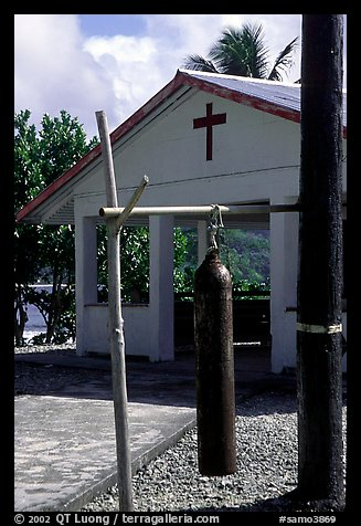 Gong and church, Aunuu village. Aunuu Island, American Samoa (color)