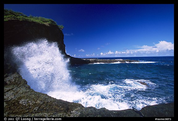 Crashing wave at Maamaa cove. Aunuu Island, American Samoa (color)