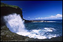 Crashing wave at Maamaa cove. Aunuu Island, American Samoa ( color)