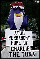 Statue of Charlie the Tuna. One third of the islanders work in tuna can factories.. Pago Pago, Tutuila, American Samoa ( color)