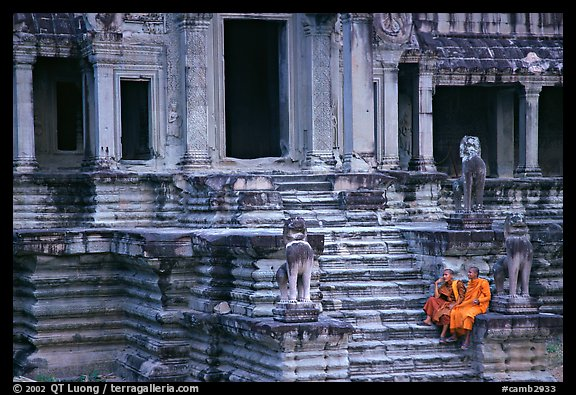 Buddhist monks on stairs, Angkor Wat. Angkor, Cambodia (color)