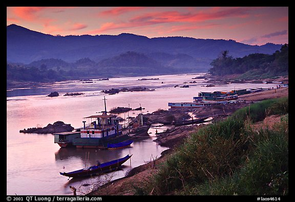 Sunset in Huay Xai. Laos (color)