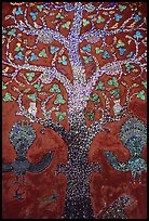 Mosaic of the tree of life on the Sim of Wat Xieng Thong. Luang Prabang, Laos