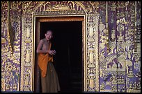 Buddhist novice monk stands at door of shrine, Wat Xieng Thong. Luang Prabang, Laos (color)
