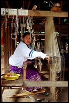 Traditional weaving in Ban Phanom village. Luang Prabang, Laos ( color)