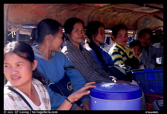 Women ride a bus, Huay Xai. Laos (color)