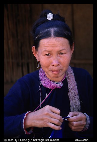 Woman of the Lao Huay tribe in Ban Nam Sang village. Laos (color)