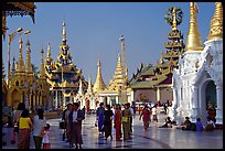 Walking on the platform, Shwedagon Paya. Yangon, Myanmar (color)