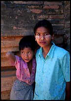 Young burmese woman and child. Bagan, Myanmar ( color)