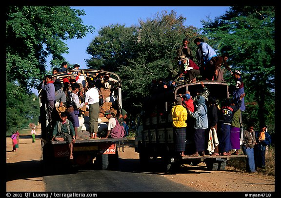 Crowded public busses. Mount Popa, Myanmar (color)