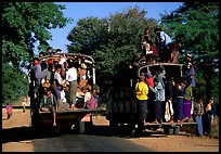 Crowded public busses. Mount Popa, Myanmar ( color)