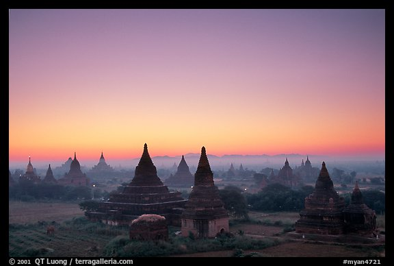 Sunrise over the plain doted with 2000 temples. Bagan, Myanmar (color)