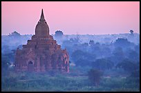 Pastel colors at dawn. Bagan, Myanmar