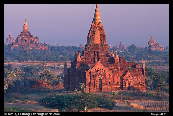 Ancient sacred city seen from Dhammayazika. Bagan, Myanmar (color)