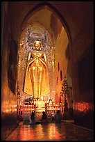 One of four monumental statues inside Ananda pahto. Bagan, Myanmar