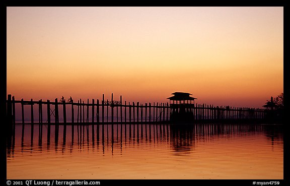 U Bein bridge, worlds longest teak span. Amarapura, Myanmar (color)