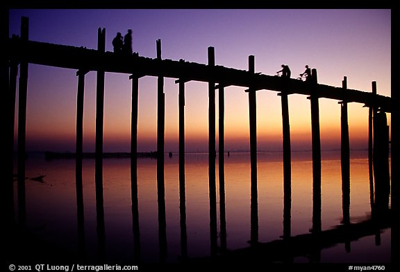 U Bein bridge at sunset. Amarapura, Myanmar (color)