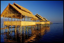Huts on stilts in middle of lake. Inle Lake, Myanmar