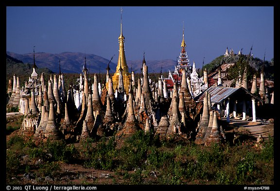 Stupas, Indein. Inle Lake, Myanmar (color)
