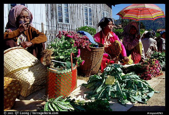 Vendors, Market in Kalaw. Shan state, Myanmar (color)