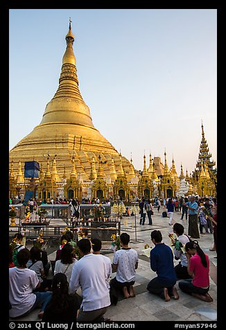 Praying from the Victory Ground, Shwedagon Pagoda, late afternoon. Yangon, Myanmar (color)