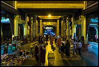Eastern entrance corridor by night, Shwedagon Pagoda. Yangon, Myanmar ( color)