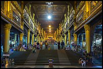 Eastern stairway bordered by souvenir stalls, Shwedagon Pagoda. Yangon, Myanmar ( color)