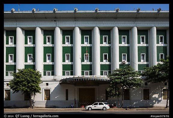 Administrative colonial-area building. Yangon, Myanmar (color)