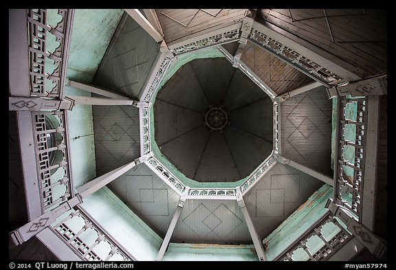 Looking up tower ceiling in colonial-area building. Yangon, Myanmar (color)
