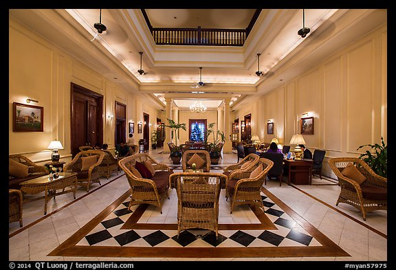 Lobby of the Strand Hotel. Yangon, Myanmar (color)