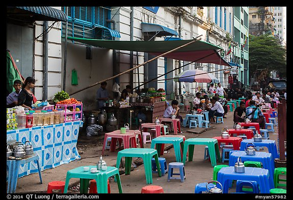 Outdoor eatery sitting on street. Yangon, Myanmar (color)