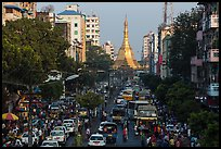 Street with busy traffic leading to Sule Pagoda. Yangon, Myanmar ( color)