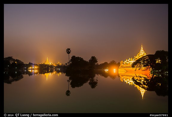 Shwedagon Pagoda and Karawek Hall reflected in Kandawgyi Lake. Yangon, Myanmar (color)