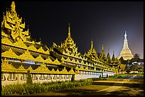 Southern zaungdan and Main Chedi at night, Shwedagon Pagoda. Yangon, Myanmar ( color)