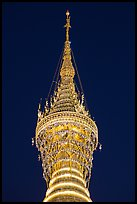 Hti of the Shwedagon Pagoda, adorned with thousands of gems and golden bells. Yangon, Myanmar ( color)