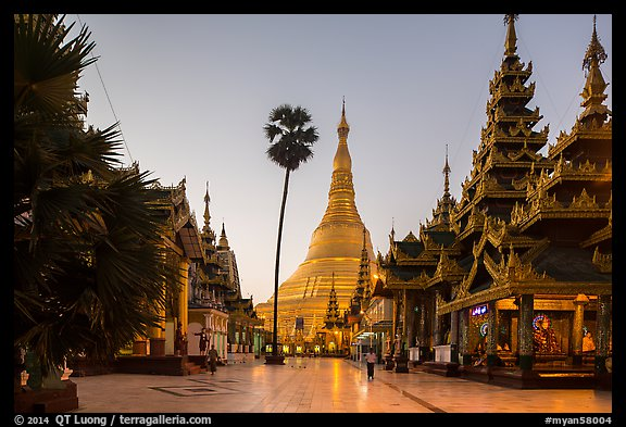 Buddha Footprint Hall and main stupa at dawn, Shwedagon Pagoda. Yangon, Myanmar (color)