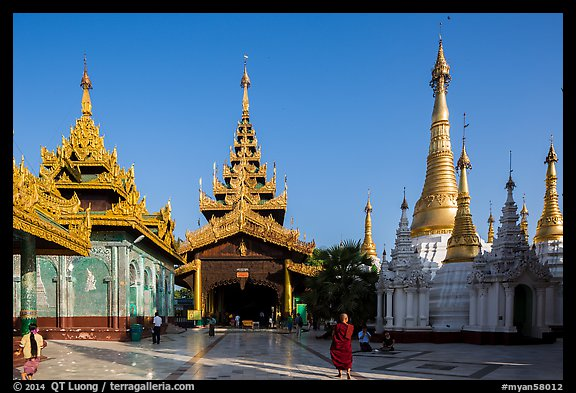 Northern stairway, pavillions, and stupas, Shwedagon Pagoda. Yangon, Myanmar (color)