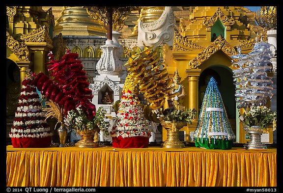 Elaborate offerings, Shwedagon Pagoda. Yangon, Myanmar (color)