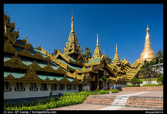 Southern stairway and main Stupa, Shwedagon Pagoda. Yangon, Myanmar (color)