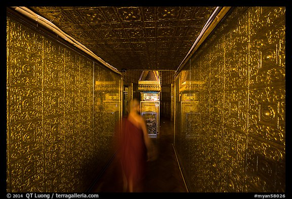 Monk inside gold-plated maze inside Botataung Pagoda. Yangon, Myanmar (color)