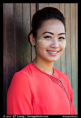 Portrait of young modern burmese woman. Yangon, Myanmar (color)