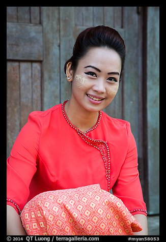 Young modern burmese woman with thanaka paste. Yangon, Myanmar (color)