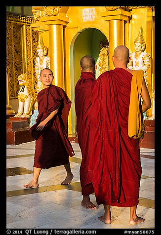 Monks on platform, Shwedagon Pagoda. Yangon, Myanmar (color)