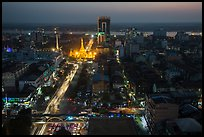 Elevated view of city center at dusk with Sule Pagoda and Yangon River. Yangon, Myanmar ( color)