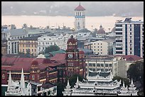 Colonial buildings and Yangon River from above. Yangon, Myanmar ( color)